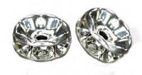 Rondelles strass 6 mm crystal AB et argent  X 4