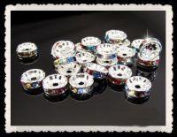 Rondelles strass 6 mm mixte ab et argent  X 10
