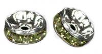 Rondelles strass 6 mm Peridot et argent