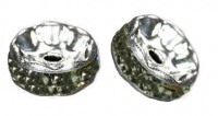 Rondelles strass 6 mm Black diamond et argent