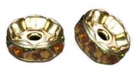 Rondelles strass 6 mm Topaz et or