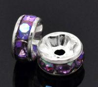Rondelles Strass Violet AB et argent   8mm