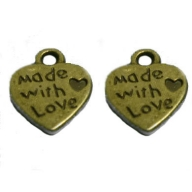 Breloques coeurs bronze ''MADE WITH LOVE'' 10 X 12 mm