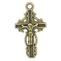Pendentifs breloque  Croix Jésus Bronze 35x20 mm Qte : 2
