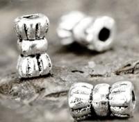 Perles intercalaires spacer Tube en Argent Tibétain 6 x 3.5mm taille du trou = 1.5 mm Qte:10
