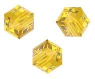 Perles cubes Swarovski 4 mm ( 5601 ) Light topaz X 8