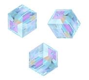 Perles cubes Swarovski 6 mm ( 5601 ) Aquamarine  X 1