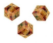 Perles cubes Swarovski 6 mm ( 5601 ) Crystal copper  B X 1