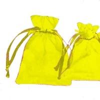 Pochettes Cadeau organza jaune  120x90mm X 5