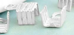 Embouts pince Couleur Blanc Argenté 8x5mm  Qte : 10