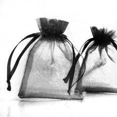 Pochettes Cadeau organza Noir  70 x 90mm  X 5