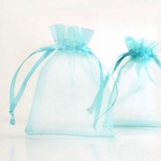 Pochettes Cadeau organza Bleu  70x90mm X 5