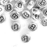 20 Perles intercalaires Lettre B Acrylique Argenté 7x7mm  taille du trou = 0.8 mm