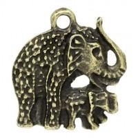 Pendentifs breloque  Éléphant Mère&Enfant Bronze 22.5x21mm  Qte : 2