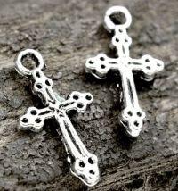 Breloques Croix en Argent 21 x 11.5mm  Qte : 2