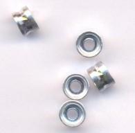 Perles Cylindre d'Aluminium Argenté 4x6mm  taille du trou = 2 mm Qte : 20