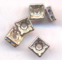 Intercalaires 5 x 5 mm strass crystal ab et argent taille du trou = 1.5 mm X 4