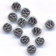 20 Perles intercalaires Lettre W Acrylique Argenté 7x7mm  taille du trou = 0.8 mm