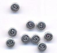 20 Perles intercalaires Lettre G Acrylique Argenté 7x7mm  taille du trou = 0.8 mm