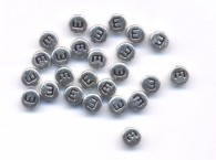 20 Perles intercalaires Lettre E Acrylique Argenté 7x7mm  taille du trou = 0.8 mm