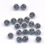 20 Perles intercalaires Lettre Z Acrylique Argenté 7x7mm  taille du trou = 0.8 mm