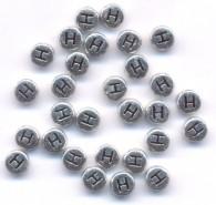 20 Perles intercalaires Lettre H Acrylique Argenté 7x7mm  taille du trou = 0.8 mm
