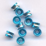 Perles Cylindre d'Aluminium Bleu et Argenté 4x6mm  taille du trou = 2 mm Qte : 20