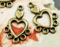 Intercalaires  Cœur Bronze Antique 19x12mm  taille du trou = 1.5 mm Qte : 5