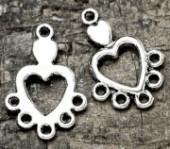 Intercalaires Coeur en Argent Tibétain 19x12mm  taille du trou = 1.5 mm Qte : 5