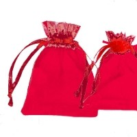 Pochettes Cadeau organza rouge  120x90mm X 5