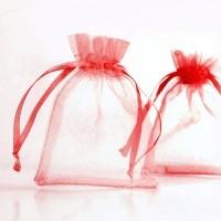 Pochettes Cadeau organza Rouge  70x90mm  X 5