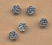 Intercalaires Fleur argent  6 x 6 mm ..taille du trou = 1 mm Qte:10