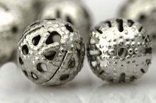 Perles Ajourées boules Filigrane Gris argenté 8mm  taille du trou = 0.8 mm Qte : 10