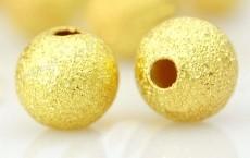 Perles boules Scintillantes intercalaires. Doré 4mm  taille du trou = 0.8 mm Qte : 10