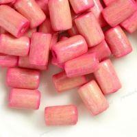 450 Perles en bois Tube rose  8x5mm