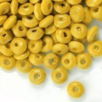 800 Perles en bois Rondelle jaune 3x6mm