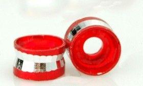 Perles Cylindre d'Aluminium Rouge et Argenté 4x6mm  taille du trou = 2 mm Qte : 10