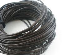 Cordon en cuir Couleur  gris/ marron 1.5mm  1 metre