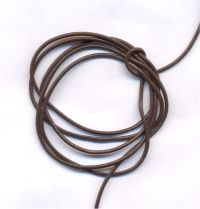Cordon en Cuir véritable  Marron 1.5mm  Qte : 1 metre