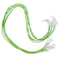 Colliers Vert Cordon coton Ciré  45cm  Qte : 1
