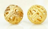 Perles Ajourées boules Filigrane métal Doré 6mm  taille du trou = 0.8 mm Qte : 10