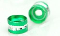 Perles Cylindre d'Aluminium  Vert et Argenté 4x6mm taille du trou = 2 mm Qte : 10
