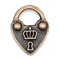 Pendentifs breloques Serrure Coeur bronze 19x14mm  Qte : 2