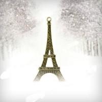 Pendentifs breloques Tour Eiffel Couleur Bronze 69x35.5mm  Qte : 1