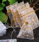 Pochettes Sac Organza ( 50 x 70 ) blanc/or + étoile Mariage Cadeau X 5