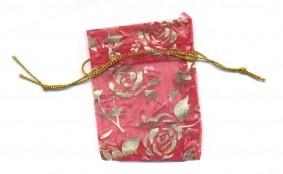 Pochettes fleur rouge Organza  70 x 55 mm Qte : 5