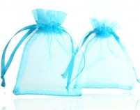 5 Pochettes Cadeau organza bleu turquoise 70 x 90mm Qte : 5