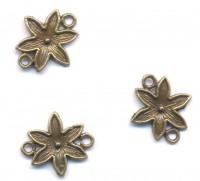Connecteurs Fleur Bronze Antique 18.5x16.5mm  taille du trou = 1.5 mm X 5