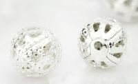 Perles Ajourées boules Filigrane métal Argentées 8mm  taille du trou = 0.8 mm X 10