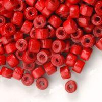 1200 Perles en bois Donut rouge 3x4mm  taille du trou = 1.4 mm